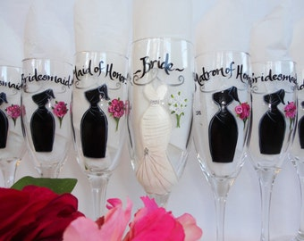 """Hand Painted """"EXACT REPLICA"""" of Your Dress - Bridesmaid Champagne Glasses -  Hand Painted Wine Glasses - FREE Gift Boxes"""