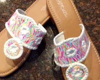 Hand Painted Sandals in the style of Jack Rogers with a Lilly Pulitzer inspired design