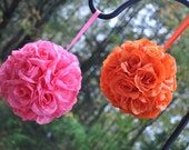 Set of Orange and Hot Pink Silk Rose Pomanders...