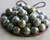Picasso Glass Beads, Czech Glass Beads, Druk Glass Round Beads, 6mm, Opaque & Grey, Olive and Blue Picasso finish (30pcs) NEW