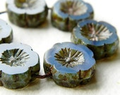 Opal Montana Blue Pansy Table Cut Flower Beads, Large glass flower coin beads, Light Montana Blue with rustic  Picasso 14mm  (20pcs) NEW