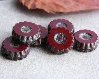 Picasso Czech Glass Beads,Table Cut Wheel Beads, Large Daisy Beads, 13mm , Opaque Oxblood & Metallic Picasso (10pcs) NEW