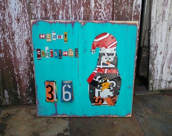 Funky PENGUIN CHRISTMAS Advent Calendar - Teal Red Awesome Christmas Countdown - Recycled License Plate Art Upcycled Artwork