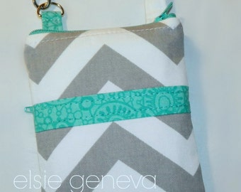 Phone Case with Wristlet Grey and White Chevron with Turquoise Aqua iPhone 5 6 Plus Zipper Top Closure and Back Zipper Pocket