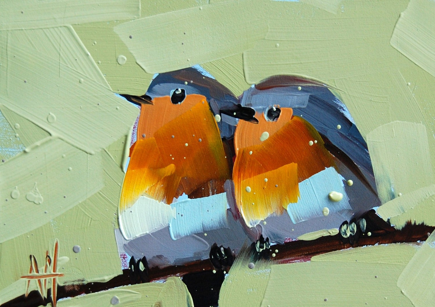 Two Robins No 12 Original Bird Oil Painting By Angela Moulton