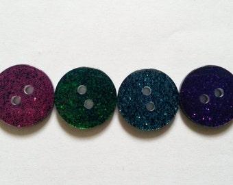 30 pcs Glitter button 2 hole  Mix color size 17mm