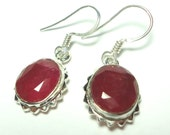 Real Ruby Jewels in Solid Sterling Silver Earrings
