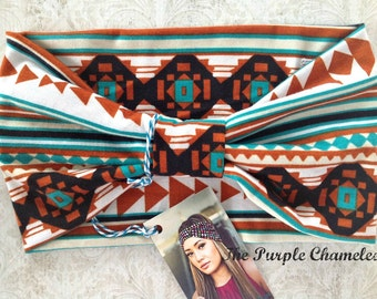 Southwest Tribal Turban Headwrap WRAPSody Headband Knit Head wrap Turquoise Brown Black Geometric Boho Native Chemo Cover Gifts for Her