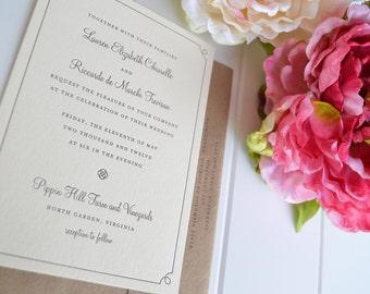 Wedding Invitation - Classic Border - JPress Designs, letterpress, simple, border, modern, popular, border, custom, design, die cut, pattern