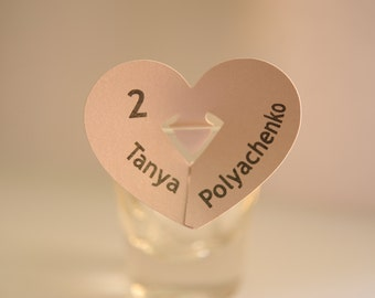 10 Personalize Glass Heart Place Card.