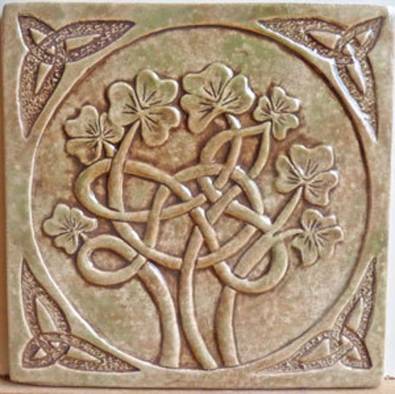 Decorative relief carved ceramic celtic shamrock tile