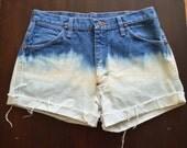 Vintage Ombre Bleached High Waisted Wrangler Denim Jean Shorts