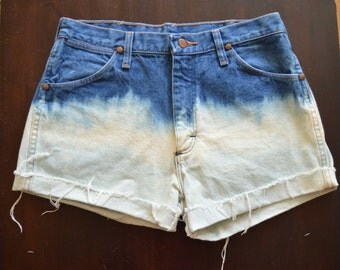Vintage Ombre Bleached High Waisted Wrangler Denim Jean Shorts
