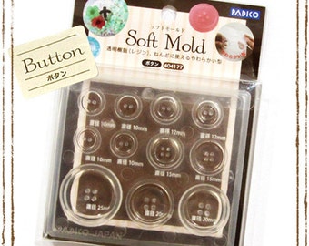 Padico Soft Mould / Mold for buttons. Five sizes of buttons in one mold. Fully flexible mold. Great with polymer / casting resin.