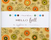 """HELLO FALL Charm Pack by Sandy Gervais for Moda, 5-Inch Squares, Precut Fabric, 5"""" Squares, Precut Squares, Fall Fabric, Autumn Fabric"""