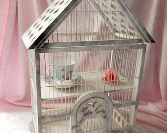 VICTORIAN CURIO Cabinet SHELF Vintage Chippy Wood Bird House Fretwork Style Shabby Cottage Chic Birdhouse Door Hand Made Gingerbread Scallop
