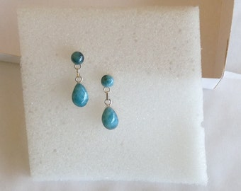 Dangle earrings Larimar earrings Blue jewelry set in Sterling Silver 925