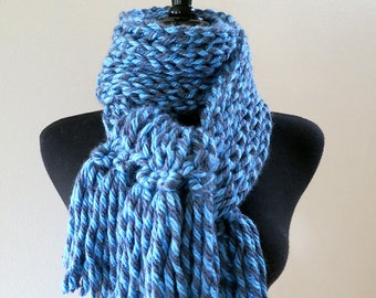 SALE - Light Dark Blue Gray Color Acrylic Yarn Knitted Chunky Scarf with Tassels Fringes