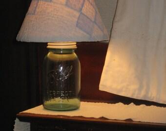 Blue Mason Jar Lamp Handmade Quilt Shade Antique Rustic Lighting NEW Electric Farmhouse Cottage Cabin Decor Primitive DIY U Fill Canning Jar