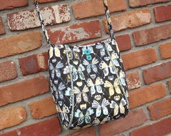 SALE, Quilted Purse, Shoulder Bag, Womens Purse, Butterflies