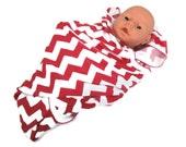 Baby Swaddling Receiving Blanket.  Deep Pink & White Chevron Stretchy Infant Swaddler Blanket.   Stretch Knit Baby Receiving Blanket.