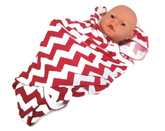 Baby Swaddling Receiving Blanket.  Deep Pink & White Chevron Stretchy Infant Swaddler Blanket.   Stretch Knit Baby Receiving Blanket.