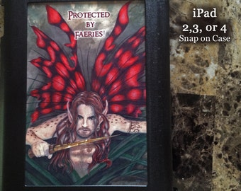 Protected by Faeries, Crimson Wings, iPad 2,3 or 4 Snap on Case