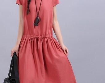 Maxi Dress Loose Fitting Sundress Short Sleeve Summer Dress in Red