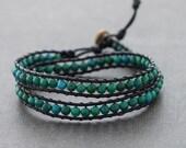 Chrysocolla Double Wrap Leather Bracelet