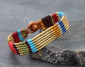 Vivid Color Stripes Macrame Bracelet