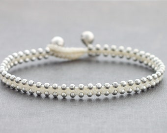 White Silver Simple Anklet