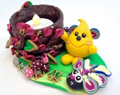 Parker Bug Series Tea Light Holder - Polymer Clay Character StoryBook Scene - Limited Edition Sculpture