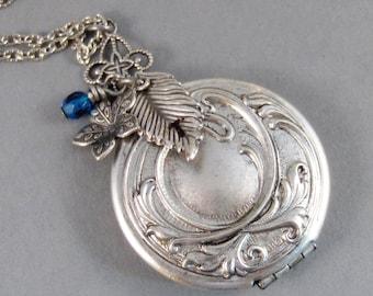 Flower And Leaf Amulet,Locket,Silver Locket,Flower,Leaf,Necklace,Antique Locket,Birthstone Locket,Leaf Locket,Birthstone, valleygirldesigns.