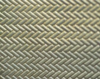 Brass Textured Metal Sheet Herringbone Pattern 20g - 6 1/4 x 2 1/4 inches - Bracelets Pendants Metalwork