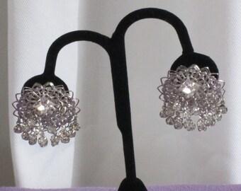 Vintage Clip Ons - Large Silver Toned - Filigree Clip Ons - Dangling Rhinestones - Vintage Rhinestone Earrings