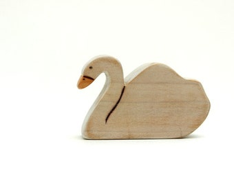 swan wooden toy, swan figurine, swan waldorf toy, wood toys