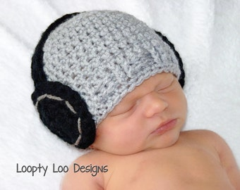 Headphone Hat, Crochet Hat, Newborn Photo Prop, Baby Boy, Baby Girl, Newborn Boy Hat - Sizes NEWBORN TO 12 MONTHS - more color options