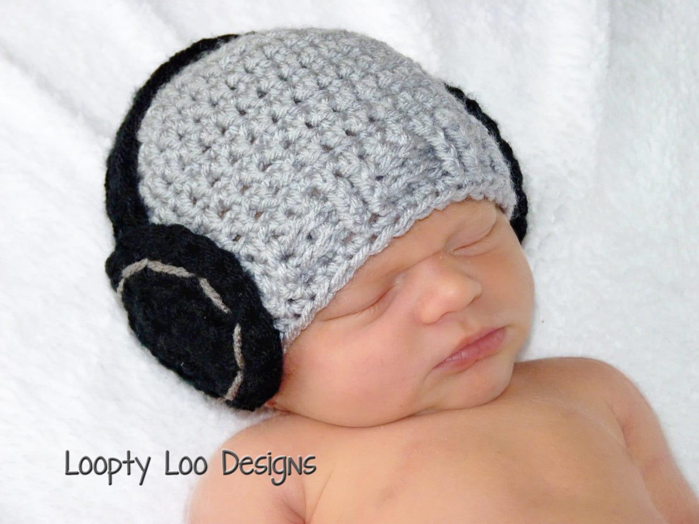 Newborn Prop Headphone Hat Crochet Baby Boy