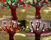 Big Plush Apple Tree with changing Seasons - Spring Summer Fall Winter Plush Tree - Tree Plush Educational Kids Toy - Pick Apples from Tree