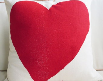 Heart Pillow with insert, 20 inch, 5 colors available (in OPRAH Magazine Feb 2017)