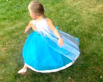 Elsa Dress: Frozen, Detachable cape, sparkle, snowflakes, tutu costume, silver and teal lined, Princess Birthday Party, vacation, Trip, park