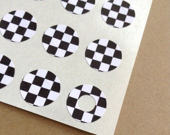 Black and White Checkered - Trendy Page Dots - Circle Reinforcements - Labels, Stickers - Hole Reinforcements