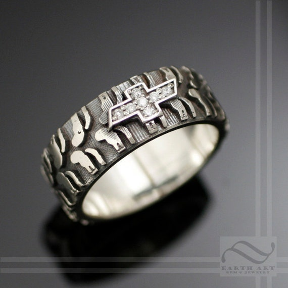 custom mens chevy tire tread ring with cz sterling silver - Mud Tire Wedding Rings