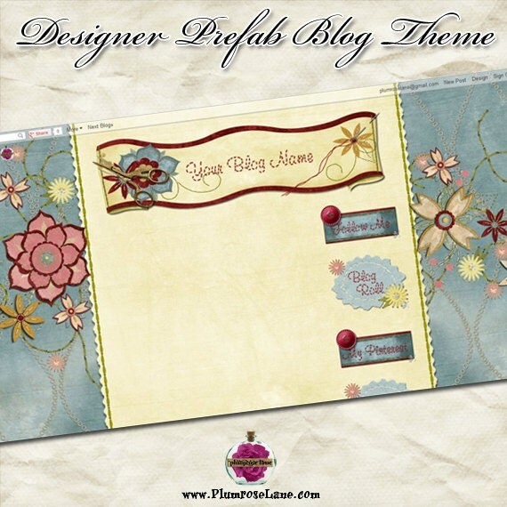 """Blog """"Sew Happy"""" Designer Theme - blue, yellow, pink, sewing, thread, needle, fabric, material, stitch, seamstress, flowers, needle point,"""