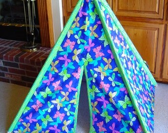 Child's Play Teepee - Wooden Poles Included - Bright Butterflies on Blue - Lime Green Trim