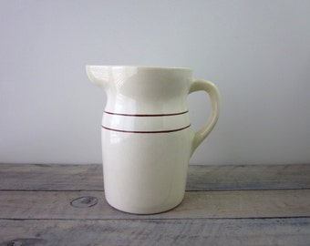Farmhouse Pottery Pitcher Cream with Brown Stripes