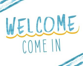 """Blue Watercolor """"Welcome"""" 8x10 Door Sign"""