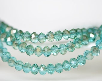Crystal Glass Rondelle Faceted beads 2x3mm Aqua Champagne -BZ0320/ 145pcs