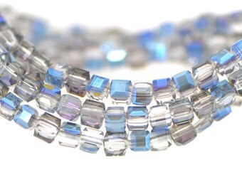 Cube Crystal Glass Faceted beads 4mm Sparkle Blue - FZ0448/ 95pcs