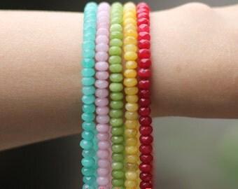 Jade Faceted Rondelle Beads  4x6mm -(V6044)/ 15'' strand